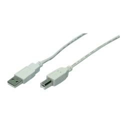 USB 2,0 Cable A/B, grey, 3,00M